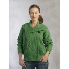 Marl Green Ladies One Button Knitted Cardigan