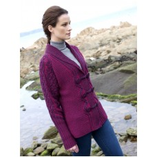 Ladies Raspberry Knitted Cardigan Sweater